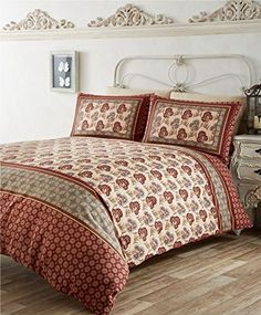 The combination of deep reds, greens and caramel colours of the Kashmir duvet set will add a touch of vibrant colour to your bedroom. Chinese Furniture, Wood Furniture, Beautiful Bedding Sets, Indian Bedding, Moroccan Style, Duvet Sets, Bed Covers, Soft Furnishings, Modern Contemporary