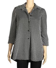 Look at this #zulilyfind! Black Woven Button-Up Top - Women & Plus by Seven Karat #zulilyfinds