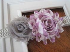 Baby Girl Headband - Lavender and Grey Chevron Headband - Newborn Headband