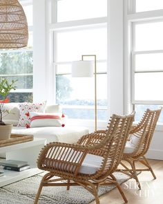 A white line drum shade and antique brass finish make this floor lamp a must have piece in any chic living room. Living Room Mirrors, Coastal Living Rooms, Chic Living Room, Living Room Chairs, Living Spaces, Coastal Bedrooms, Dining Chairs, Rattan Chair Cushions, Rattan Furniture