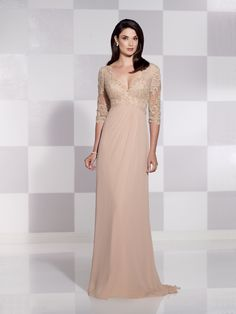 b1f5e6906aa4f Chiffon slim A-line gown with illusion and scalloped lace three-quarter  length sleeves