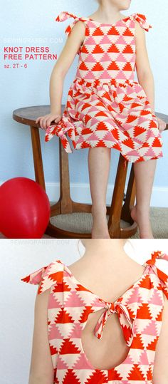 Knot dress. Free sewing pattern. Sizes 2T thru 6. Perfect for that handmade Easter dress!