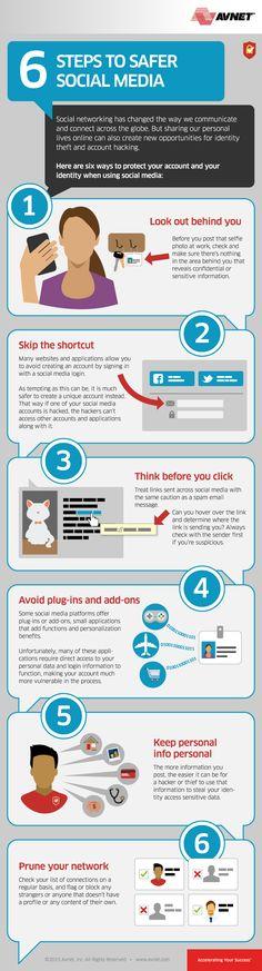 Social Media and Internet Safety Tips: 6 Steps to Safer #SocialMedia - #infographic
