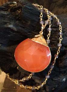 Carnelian with Thai Gold on Sapphire Wire Wrap Chain