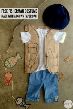 Easy Fisherman Costume Family Halloween Costumes, Holidays Halloween, Diy Costumes, Halloween Kids, Costume Ideas, Fisherman Costume, Paper Bag Crafts, Toddler Art Projects, Trash Art