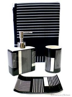 4pc Black White Bathroom Accessory Set Shower Curtain For 36 99 Http Yupurl