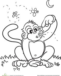 Monkey Gone Bananas Coloring Page Printables for Kids