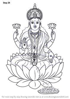 Learn How to Draw Lakshmi Mata (Hinduism) Step by Step : Drawing Tutorials Outline Drawings, Art Drawings Sketches Simple, Pencil Art Drawings, Doodle Art Drawing, Mandala Drawing, Tattoo Indiana, Tattoo Coloring Book, Mandala Art Lesson, Tanjore Painting