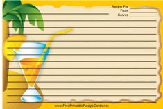 This Palm Tree Drink Orange Recipe Card features a colorful orange drink with a palm tree in the background and an orange border. Free to download and print
