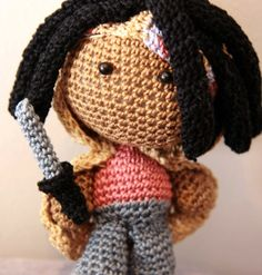 Michonne- this would be great with Amigurumi versions of her pet walkers
