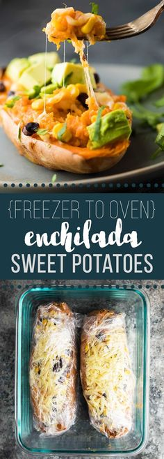 Enchilada Stuffed Sweet Potatoes that can go directly from the freezer into your oven! Make them ahead for an easy (vegetarian) meal prep lunch or dinner.