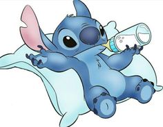 Baby Stitch. Hold the bottle all by my self