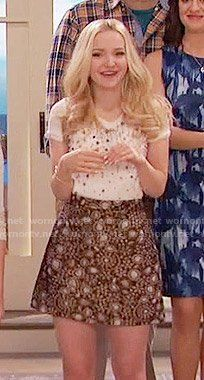 Liv's gold paisley skirt and pearl studded top on Liv and Maddie.  Outfit Details: https://wornontv.net/58139/ #LivandMaddie