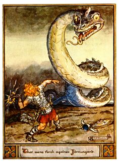 Illustrations from The Heroes of Asgard by C.E. Brock Thor meets Jörmungand for the last time