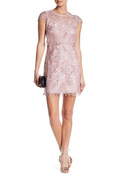 Embroidered Lace Fringe Detail Fitted Dress