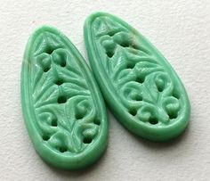 Chrysoprase Filigree Hand Carved Matched Pair by gemsforjewels
