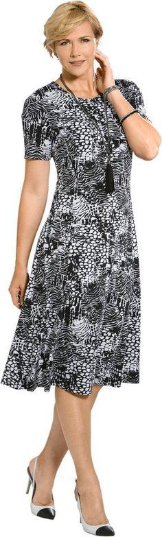 Jersey-Kleid in Koffer-Qualität ab 39,99€. Schmeichelndes Jersey-Kleid, Polyester, Elasthan, Figurumschmeichelnde Form, Kurzarm, Rundhals-Ausschnitt bei OTTO