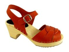 Lotta From Stockholm Torpatoffeln Swedish Clogs : High Heel Peep Toe Clogs In Red Leather