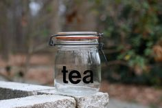 Vintage 1970's Triomphe Typographic Tea Jar / Graphic Modern Tea Jar / Triomphe French Glass Jar by theretrobeehive on Etsy https://www.etsy.com/listing/215967507/vintage-1970s-triomphe-typographic-tea