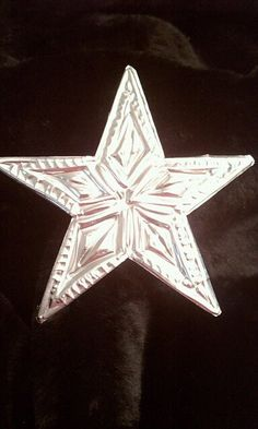 Items similar to Hand Tooled Metal Christmas Star Ornament on Etsy Tin Foil Art, Tin Art, Aluminum Can Crafts, Metal Crafts, Christmas Banners, Christmas Star, Activity Day Girls, Metal Embossing, Stars Craft