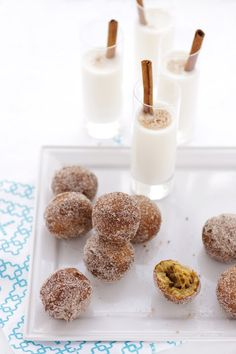 Splendidly autumnal Pumpkin and Hazelnut Doughnut Holes. #holes #pumpkin #fall #autumn #Halloween #hazelnut #nuts #milk #doughnuts #food #cooking #dessert #baking #treats #breakfast #snack