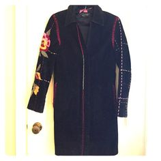 """Suede Embroidered Knee Length Coat High end boutique suede leather knee length coat with beautiful embroidery on sleeves and pockets.  This coat is truly a statement piece!  Please note this flaw... The seam has come undone on the left arm about 3 inches but could be an easy repair for a tailor.  Size is small but runs small particularly across the chest.  31"""" bust 34"""" long. Luciano Abitboul Jackets & Coats Trench Coats"""