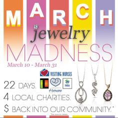 We're in the LAST WEEK of March Jewelry Madness at our Lawrence, KS location!! When you make a purchase, tell us what charity you'd like us to donate a portion of your purchase to - Theatre Lawrence, Visiting Nurses, Lawrence Habitat for Humanity or the Lawrence Humane Society. Listen to Lawrencehits.com, or see our store for details.   hurstdiamonds.com   #hurstfinediamonds #lawrenceks
