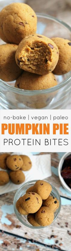 These easy, cakey Pumpkin Pie Protein No-Bake Bites have the flavor of pumpkin pie, but are secretly packed with protein and fiber! Vegan, gluten-free, paleo, and kid-friendly…More