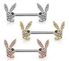 PAIR Crystal Paved Playboy Bunny Nipple Shields Rings Barbells Body Jewelry