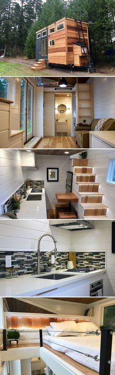 The Tiny Home of Zen provides a warm space with clean white lines and high-end finishes. French doors and nine windows fill the space with natural light.