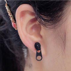 Black zipper earrings ✨7 available ✨ Cute black zinc alloy earrings for pierced ears. New in package. Jewelry Earrings