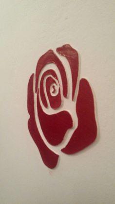 Vörösre festett 3D rózsa, faldekoráció