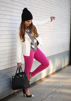 Pink skinny jeans, white leather jacket and polka-dotted top. Outfit inspiration via Nany's Klozet. #fashion