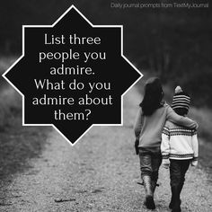Making small lists of references can be useful for when depression seems to overpower your mind. Make a list today of three people you admire. List a few traits you admire to reinforce your list! http://ift.tt/2dDiVS5