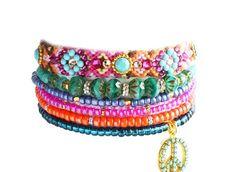 OOAK Luxury Peace Swarovski Friendship Bracelet Crystal Jewelry Set of 6,bohemian indian gypsy style,Ethnic boho aztec multiple rows