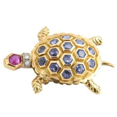 French Mechanical Ruby Sapphire Diamond Gold Turtle Brooch | From a unique collection of vintage brooches at https://www.1stdibs.com/jewelry/brooches/brooches/