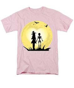 Romantic Halloween Witch And Skeleton T-shirt - Men's T-Shirt  (Regular Fit) greatgirlsgifts.com