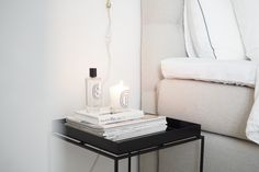 Char and the city - White, classic and Scandinavian bedroom - read more on the… White Apartment, Scandinavian Bedroom, Sleep Tight, House Doctor, Bedroom Inspiration, Floating Nightstand, My Dream Home, Guest Room, Decorations