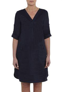 Linen Roll Up Sleeve Dress - Online Ladies Dresses