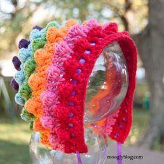 Blackberry Salad Striped Baby Bonnet: free crochet pattern at mooglyblog.com