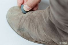 How to remove dry stains from suede - Use a pencil eraser. Don't use a pink eraser, as this can transfer pink dye onto your items. Instead, use a colorless, white or brown gum eraser. Clean Suede Boots, How To Clean Suede, Brown Suede Boots, Blue Suede Shoes, Pink Shoes, Pencil Eraser, Diy Cleaning Products, Cleaning Hacks, Hacks