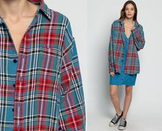 Oversized Flannel Shirt 80s Plaid Shirt Red Blue by ShopExile