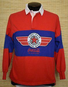97e116e49300 Vintage 80s Coca Cola Rugby Shirt, 1980s Throwback Coke Polo Shirt, Adult Size  Medium