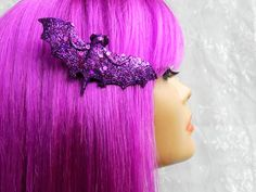 Bat Hair Clip Purple with Sequins Halloween Pin Up Rockabilly Goth Pastel Goth Spooky Creepy Psychobilly Hair Accessories Hair Fascinator on Etsy, $8.74 CAD