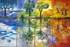 Y. Chaki The Four Seasons - Oil on Canvas 11ft x 22ft 1988