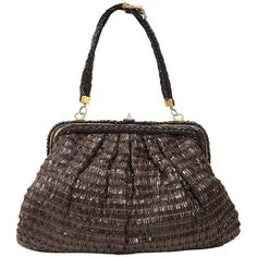 Preowned Roberta Di Camerino Brown Lather Vintage Bag, 1960s ($380) ❤ liked on Polyvore featuring bags, handbags, brown, top handle bags, leather man bags, leather handbags, leather purses, hand bags and white leather purse