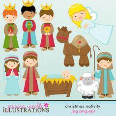 Cute Christmas Nativity Scene   Illustrations & Cliparts - Christmas Nativity - MYGRAFICO DIGITALS ...