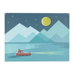 Eclipse Banner  | The Land of Nod. Mural inspiration: Three-tone mountains, with overlapping paint colors. Two-tone overlapping moon. Stars. (Skip the boat!)