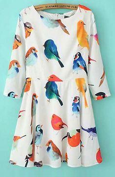 Bird print quarter sleeve dress