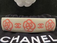 WOMENS AUTHENTIC CHANEL PINK & OFF WHITE CAMELLIA FLOWER HAIR BARRETTE $360